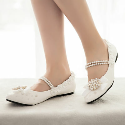 New Lace Floral White Pearl Pumps Bridal Bridesmaid Wedding Flat Shoes US6/EU37