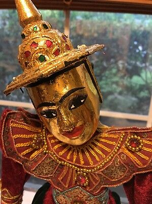 """Oriental Vintage Puppet Marionette Collectible With Stand 14"""" Gold Tinman"""