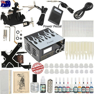 Complete Tattoo Kit Set 10 color Inks Power Supply 2 TOP Machine Guns