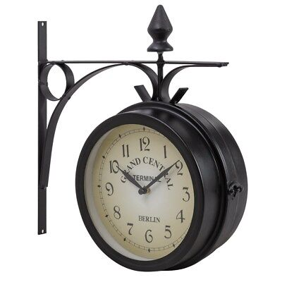 Vintage Antique Double Side Wall Mounted Garden Outdoor Station Clock Home Decor