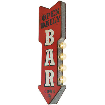 NEW Bar Marquee Metal Arrow Light Up LED Sign - Intentionally Distressed Design