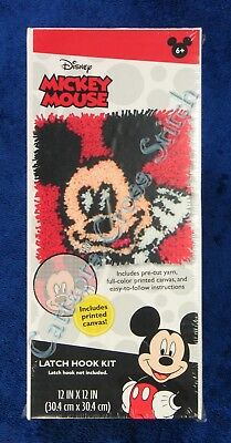 """Latch Hook Kit Disney Mickey Mouse 12"""" x 12"""" Dimensions Printed Canvas"""