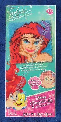 "Latch Hook Kit Disney Princess Ariel 12"" x 12"" Dimensions Printed Canvas"