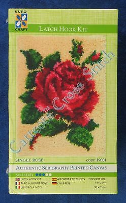 "Latch Hook Kit Single Rose Printed Canvas 15"" x 20"" Euro Craft Tool Included"
