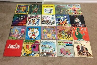 Disney Children's Vinyl Record 20 Lot  Mickey Mouse OZ Puff Charle Brown Alice