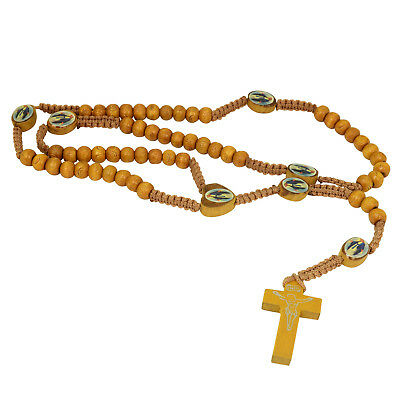 Brown Rope Wooden Picture Beads Religious Necklace Rosary  Jesus On Cross
