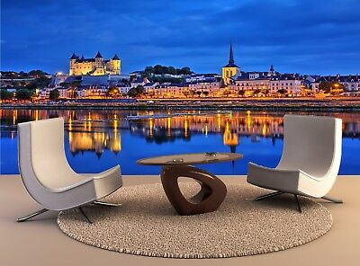 Night Saumur City Buildings Water Wall Mural Photo Wallpaper GIANT WALL DECOR
