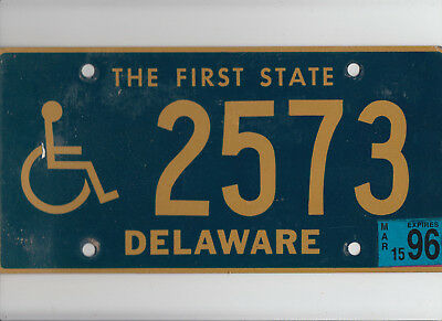 "DELAWARE 1996 license plate ""2573"" ***NATURAL***HANDICAPPED/DISABLED***"