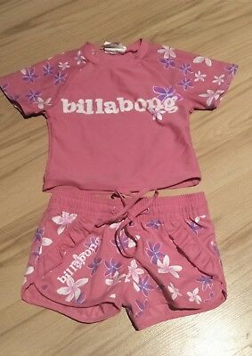 baby girl billabong rash shirt and shorts size 0