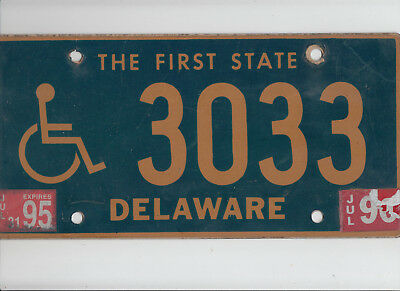 "DELAWARE 1995 license plate ""3033"" ***HANDICAPPED/DISABLED***"