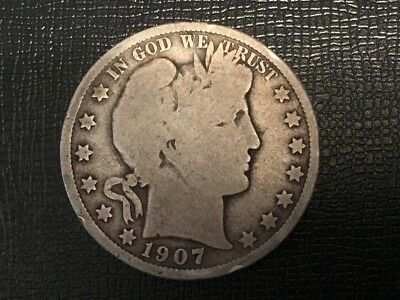 """1907 US  """"Barber"""" half dollar coin.  110 years old."""