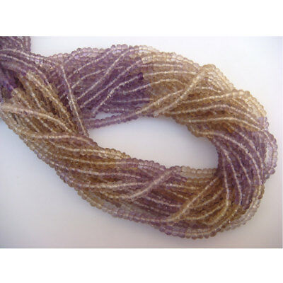 5 Strands Wholesale Ametrine Micro Faceted Rondelles 4mm 14 Inch Strand Each I3