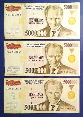 TURKEY: 3 x 5 Million Lira Banknotes - Fine Condition
