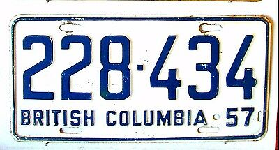 BRITISH COLUMBIA License Plate Tag 1957  - Low Shipping