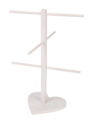 White Wooden Love Heart Jewellery Stand