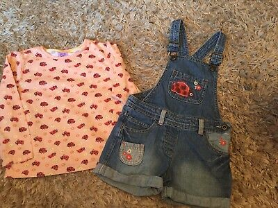 Girls Next Day Post Long Sleeved Top And Dungarees Outfit Set By Tesco 4-5Years
