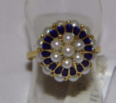 ANELLO ORO 18kt SMALTI RUBINI EPOCA 1950 RING GOLD RUBY VINTAGE GLAZE