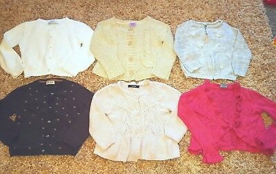 Girls Bundle 6 Pink White Brown Beige Knitted Wool Cardigans Jackets 2-3 Years