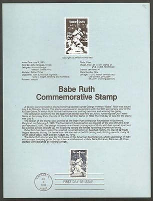United States 1983 Babe Ruth - US Postal Service Bulletin Board Poster