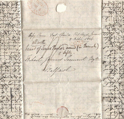 MS1684 1826 JAMAICA LETTER POSTED IRELAND Cork Dublin*MIDDAY MAIL* Cross-Written