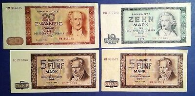 GERMANY: Set of 4 Mark Banknotes (1964) - Very Fine Condition