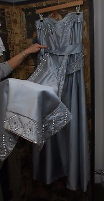 Gorgeous 1950's Vintage Haute Couture Blue Silk/Satin Beads Ball Gown 10/12/14