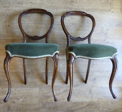 Pair of Victorian Balloon Back Dining Chairs in Walnut - Green Velvet Upholstery