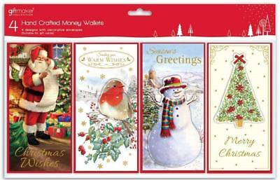 ** 4 Pack Christmas Money Wallets Various Traditional New ** Present Robin