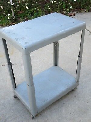 Vintage Diebold Bank Small Metal Cart With Wheels Sturdy Adjustable
