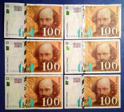 FRANCE: 6 x 100 Francs Banknotes Very Fine Condition