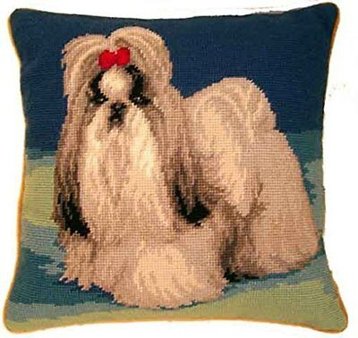 Elegant Shih Tzu Dog Needlepoint Wool Pillow - 14""
