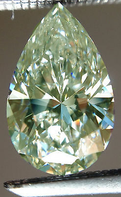 3.74 ct VvS1/GENUINE WHITE ICE GREEN COLOR LOOSE PEAR REAL MOISSANITE for ring