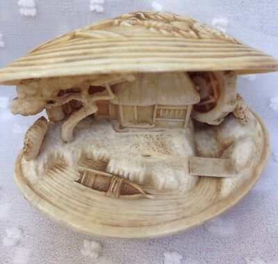 Japanese Chinese Clam Shell With Miniature House Tree Waterwheel Boat Ornament