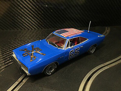 Pioneer Slot Car New Unboxed Dodge Charger Blue General Grant - Paint Defect