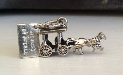 MACKINAC ISLAND Horse Carriage  -Vintage BELL Sterling Bracelet Charm Michigan