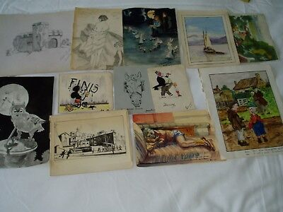AUTOGRAPH BOOK DRAWINGS...1920-50's....... original...PLEASE CHECK THEM OUT..EX