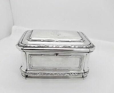 ANTIQUE HENRI SOUFFLOT LARGE FRENCH STERLING 950 SILVER JEWELRY CASKET BOX,613gm