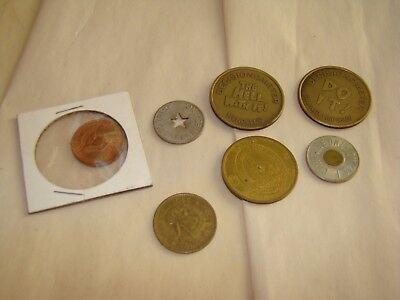 LOT lucky coins and fare tokens exonumia VINTAGE !!