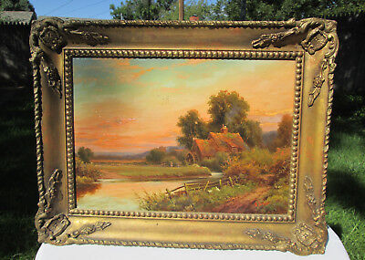 19th C. Oil Painting Landscape Sunset Country Home, signed R. Jenson (British)