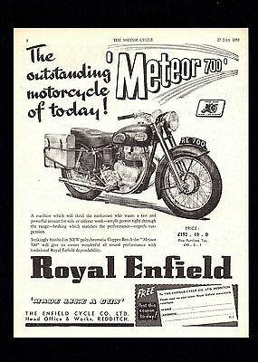 July 1953 Royal Enfield 700 Meteor Motorcycle.magazine Advert.
