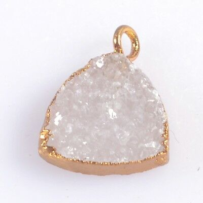 12mm Triangle Natural Agate Druzy Geode Charm One Bail Gold Plated T047443