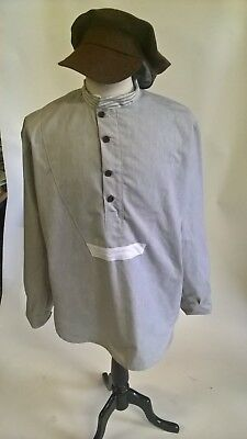 "WW1 british soldier grey shirt and cap, world war theatrical costume 40"" chest"