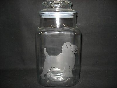 New Etched Affenpinscher Glass Candy Treat Storage Apothecary Jar Canister