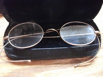NO RESERVE Original Gold Plated Vintage / Antique Round Spectacles in case