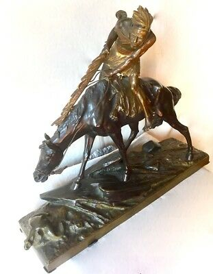 19th Century French  Bronze Original  Statue  Edouard Drouot American Indian