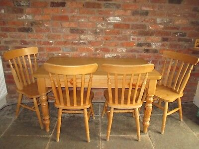 Rustic Solid Pine Table And 4 Chairs Farmhouse Cottage Country Shabby Chic