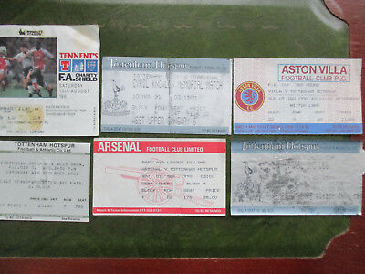 6 Tottenham home & away tickets 1982 -1992 inc Charity Shield & Knowles Memorial
