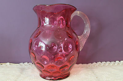 Vintage Cranberry Glass Pitcher 'inverted Thumbprint' With Applied Clear Handle