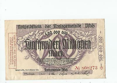 Germany  500,000,000  Mark  Pfalz  1923