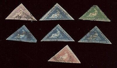 CAPE OF GOOD HOPE, 7 OLD USED Classic Triangle Stamps